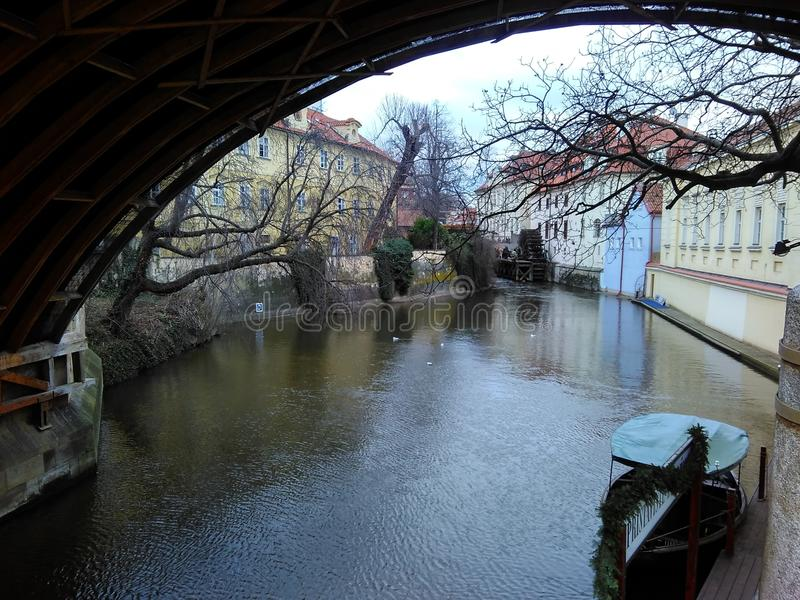 Prague, Czech Republic - December 24, 2017, the River Chertovka. Near Karlovy Bridge stock photo