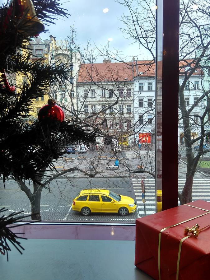 Prague, Czech Republic - December 24, 2017, yellow taxi from the window. To Wenceslas Square royalty free stock image