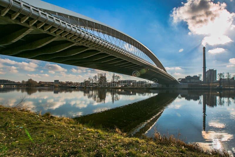 Road bridge running across Moldau river at Troja royalty free stock photography