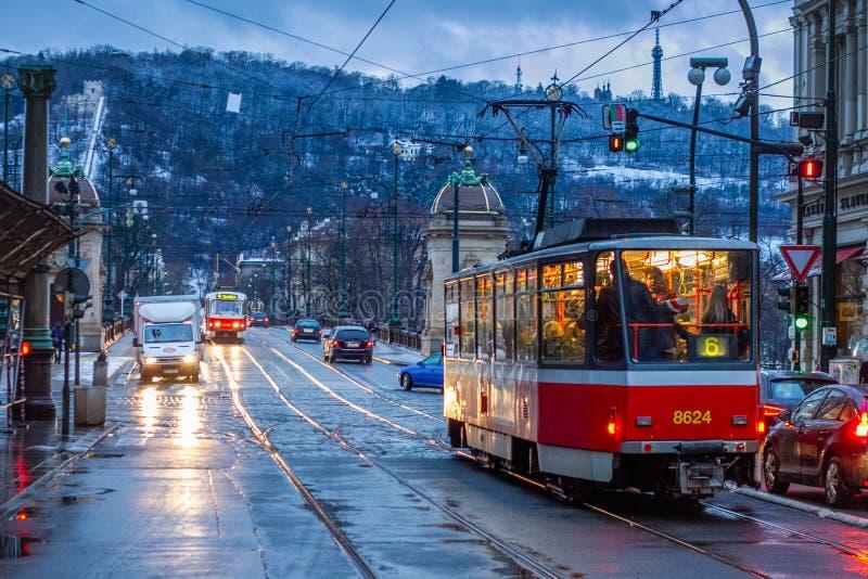 PRAGUE, CZECH REPUBLIC - FEBRUARY 19, 2013: passing of trams on the bridge stock images