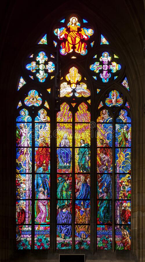 PRAGUE, CZECH REPUBLIC - FEBRUARY 19, 2015 - Stained-glass window in St Vitus Cathedral stock images