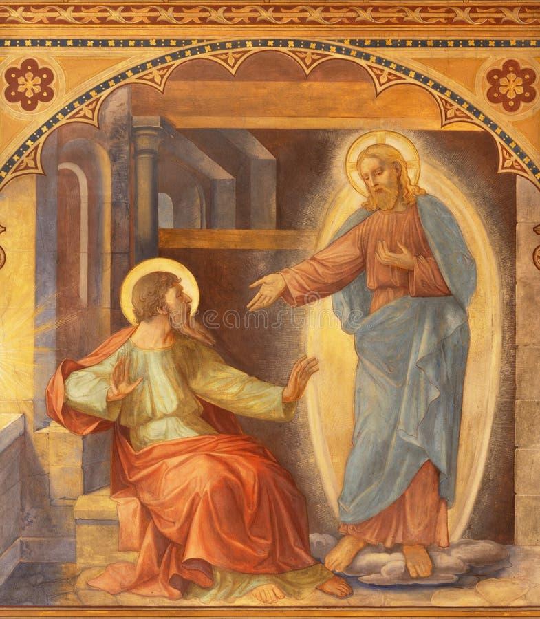 Prague - Fresco of Apparition of Jesus to Saint Paul in church Bazilika svatého Petra a Pavla na Vyšehrade by S. G. Rudl stock photos