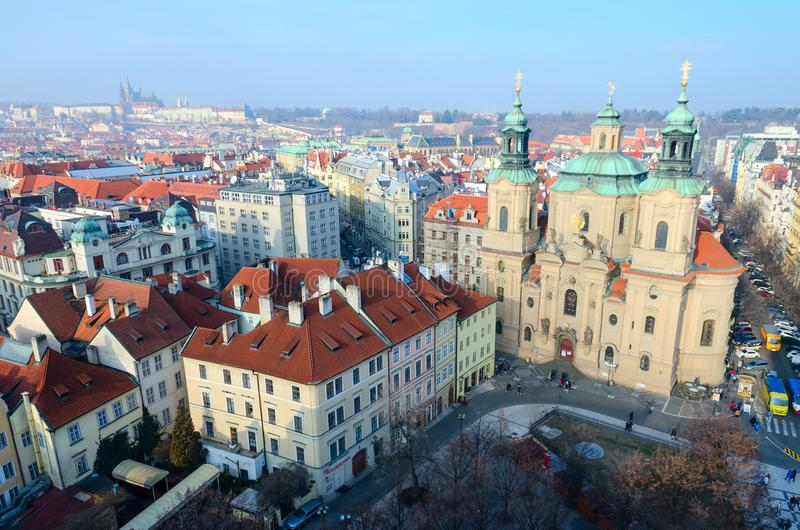 Beautiful top view of historical center of Prague Stare Mesto, Church of St. Nicholas on Old Town Square, Czech Republic royalty free stock photos