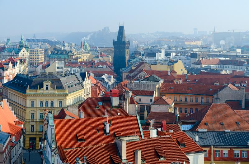 Beautiful view from above of Powder Tower in historical center of Prague, Czech Republic royalty free stock images