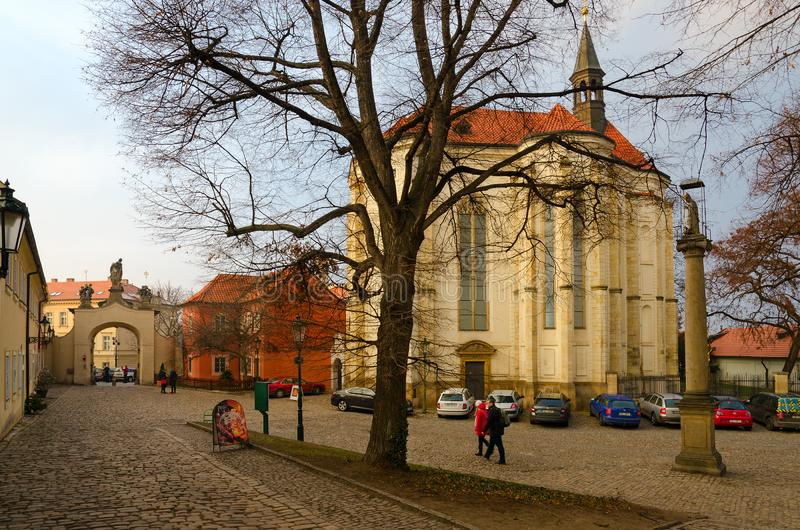 Church of St. Roch MIRO art gallery, Strahov Monastery, Prague, Czech Republic. PRAGUE, CZECH REPUBLIC - JANUARY 22, 2019: Church of St. Roch MIRO art gallery royalty free stock photography