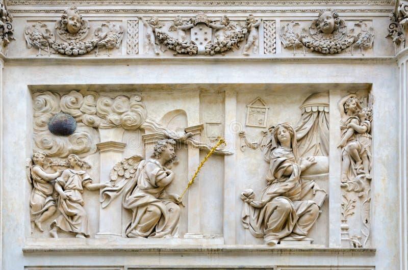 Fragment of facade of famous Holy Hut of Virgin Mary of Loreto, Prague Loreta, Prague, Czech Republic royalty free stock image