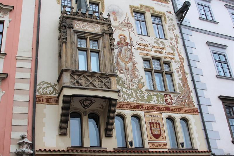 Prague, Czech Republic, January 2015. A fragment of the facade of a house built in 1898 with an interesting painting. royalty free stock photos
