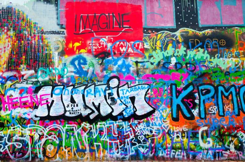Fragment of famous John Lennon Wall in Prague, Czech Republic stock image
