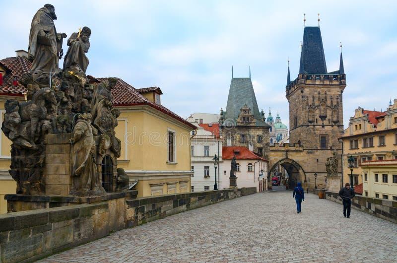 Sculptural compositions of Charles Bridge, Prague, Czech Republic. Saints John de Mata, Felix de Valois and John Bohemian stock photography