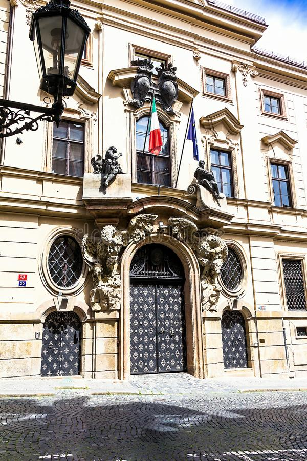 Entrance to the Embassy of Romania in Prague, Czech Republic royalty free stock photos