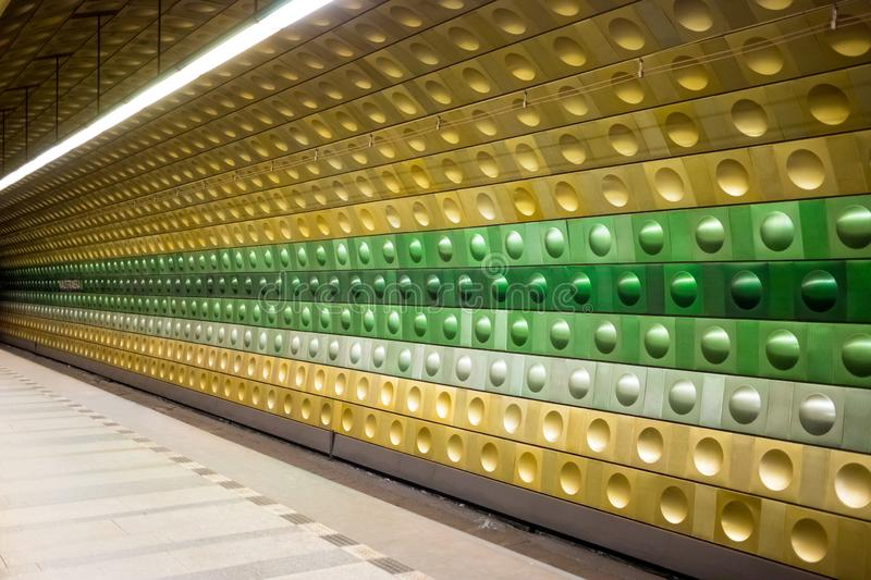 Prague, Czech Republic,23 July 2019; Malostranska metro station. Urban scene, city life, public transport and traffic concept stock photography
