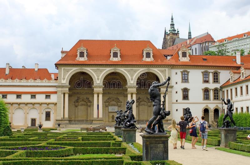 Prague Senate Exterior. PRAGUE, CZECH REPUBLIC - July 5, 2016: Prague senate facade and garden with statues stock photos