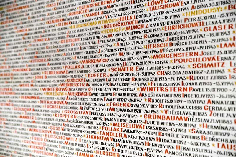 Detail of the list of Jews murdered in the Holocaust - Prague, C. PRAGUE, CZECH REPUBLIC - JULY 2: The walls of Pinkas synagogue covered with the handwritten royalty free stock image