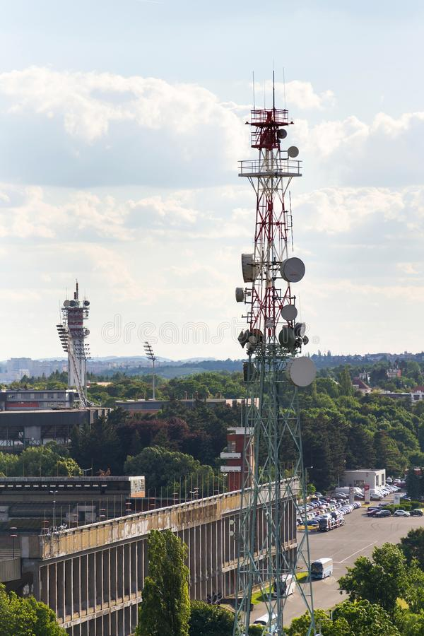 The Great Strahov Stadium with telecommunication tower seen from Petrin tower on sunny summer day in Prague. PRAGUE, CZECH REPUBLIC - JUNE 17 2017: The Great royalty free stock photography