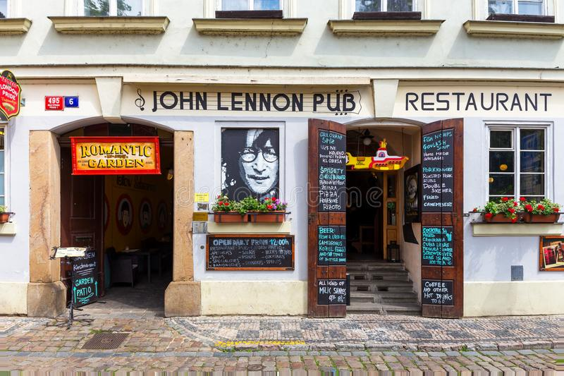 John Lennon Pub. PRAGUE, CZECH REPUBLIC - JUNE 05,2017: The John Lennon Pub in Prague. It is located in the centre of the town Praque and very popular among royalty free stock photos