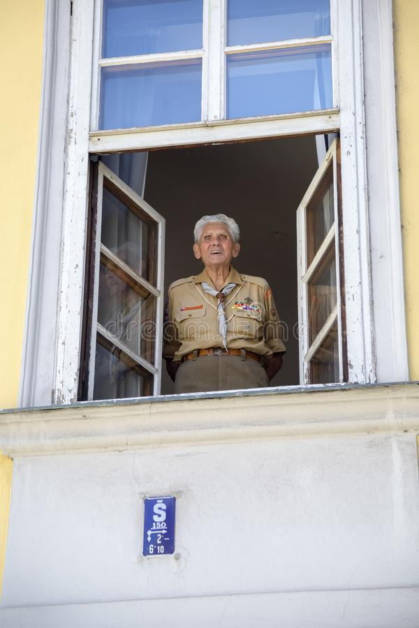 Old Czech veteran soldier royalty free stock photography