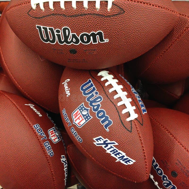 Prague, Czech Republic - June 23, 2014. Pack of Wilson football balls.  royalty free stock photos