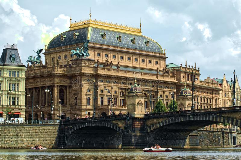 National Theatre in Prague and Legion Bridge royalty free stock photo