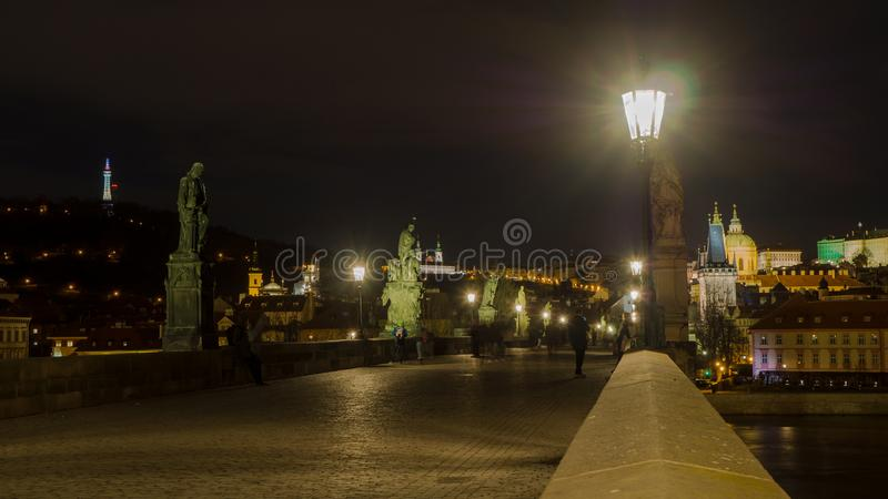 Prague, Czech Republic, landscape at the Charles Bridge at night. royalty free stock images