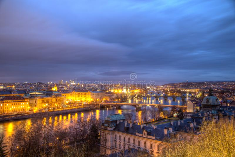 Prague City View with Bridges of Vltava River stock photos