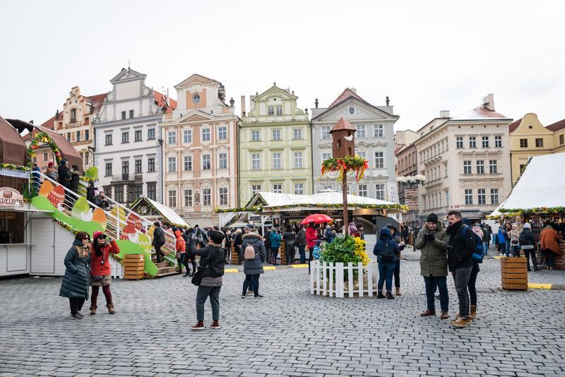 Prague Easter Markets on Old Town Square royalty free stock photo