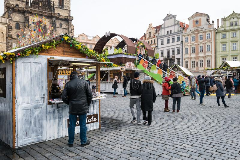 Prague Easter Markets on Old Town Square stock photography