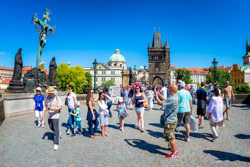 PRAGUE, CZECH REPUBLIC - MAY 28, 2017: Crucifixion statue and pe royalty free stock image