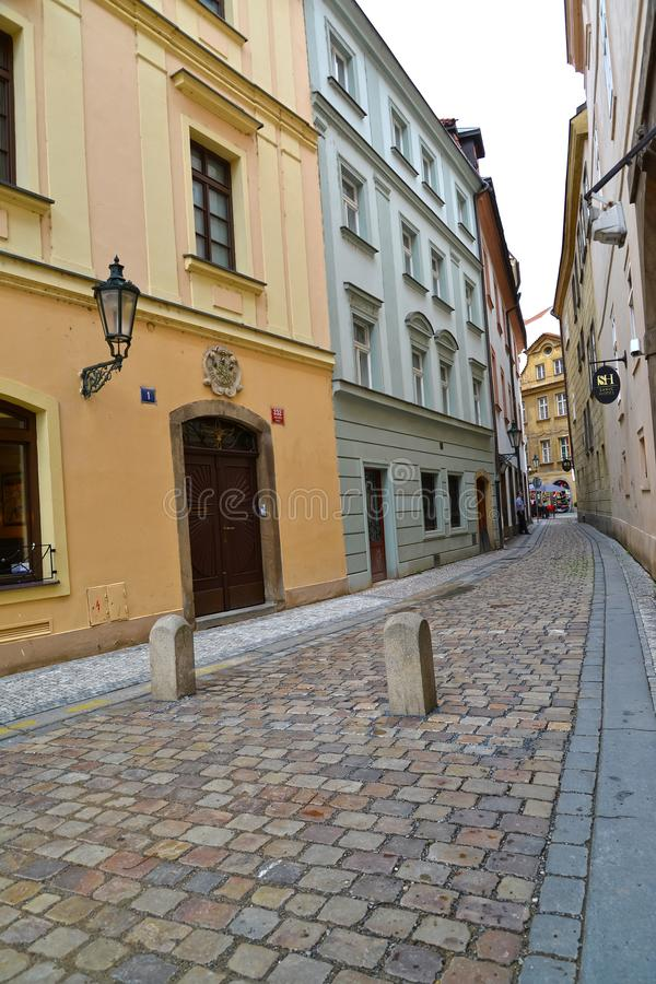 PRAGUE, CZECH REPUBLIC. The narrow street of the Old city from a stacked pavement royalty free stock images