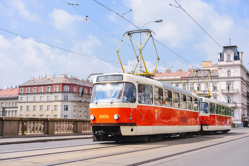PRAGUE, CZECH REPUBLIC - MAY 2017: old tram on the cobbled central street of Prague. PRAGUE, CZECH REPUBLIC - MAY 2017: old tram on the cobbled central street royalty free stock image