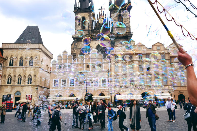 PRAGUE, CZECH REPUBLIC - MAY 19, 2016: Performance of soap bubbles in The Old Town Square (Staromestske namesti) in Prague royalty free stock images