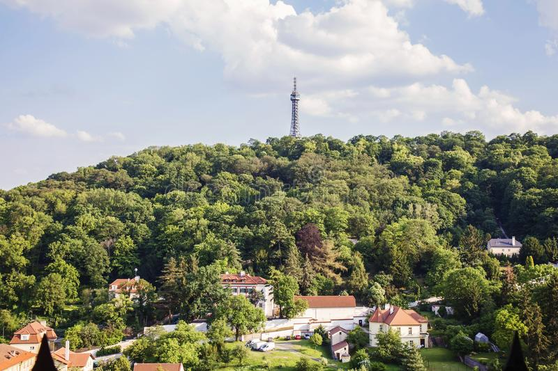 Petrin Hill int the spring weather. Prague, Czech republic, May 26, 2018: Petrin Hill int the spring weather royalty free stock image