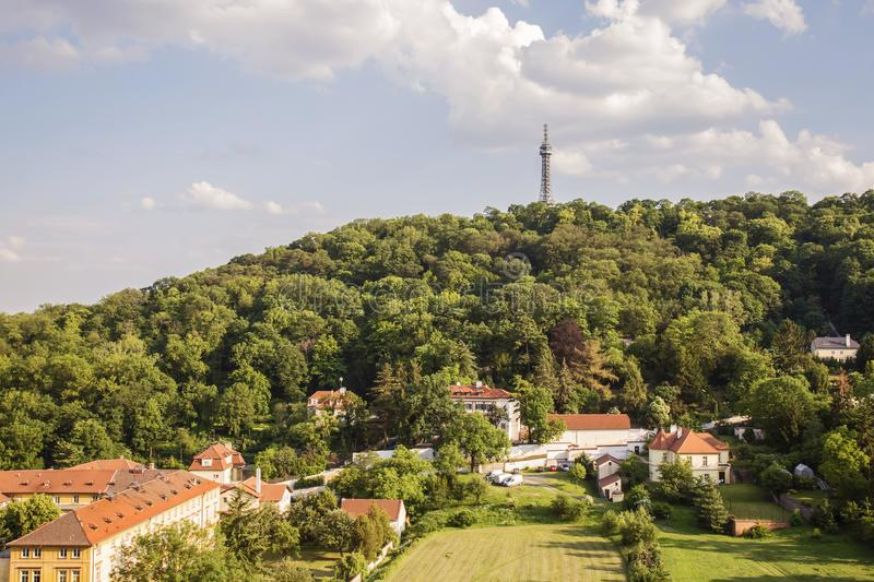 Petrin Hill int the spring weather. Prague, Czech republic, May 26, 2018: Petrin Hill int the spring weather stock photography