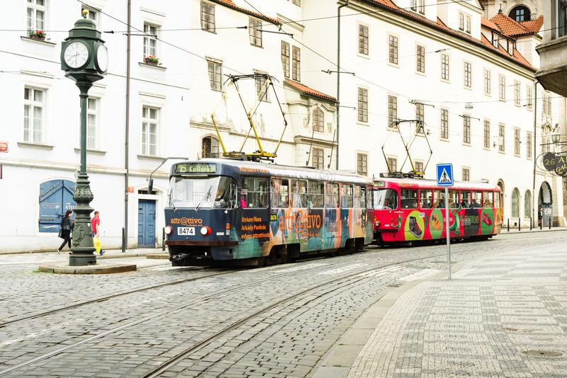 Colorful tourist trams on the streets of Prague stock photography
