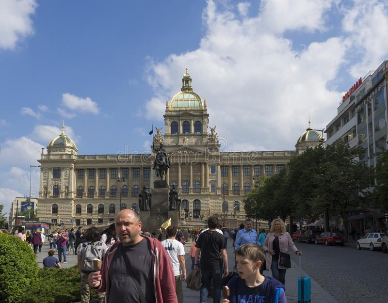 PRAGUE, CZECH REPUBLIC - MAY 18, 2019: Prague Wenceslas square with Historical statue of saint Wenceslas with group of stock photos