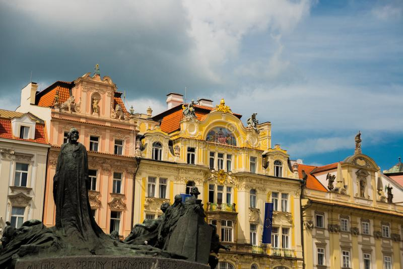 PRAGUE, CZECH REPUBLIC: Monument to Jan Hus on Old Town Square in Prague stock image