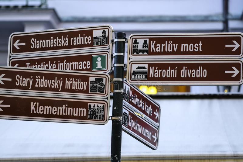 Direction signs in Prague royalty free stock photo