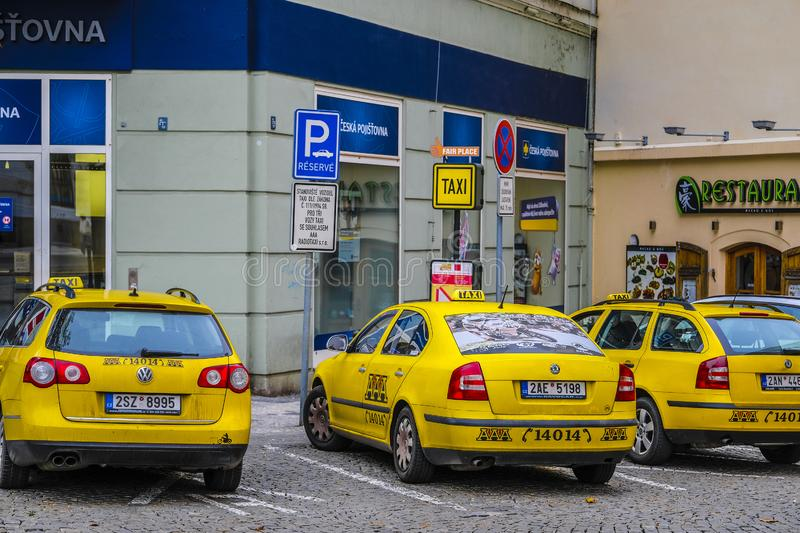 Taxi cars on a parking in Prague stock photography