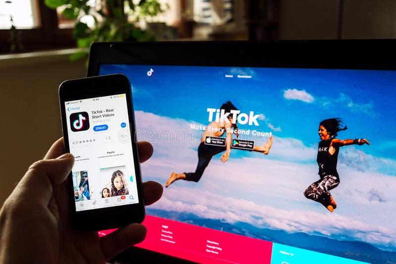 TikTok Mobile Video-sharing App Company Logo On Phone Screen