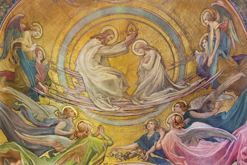 PRAGUE, CZECH REPUBLIC - OCTOBER 13, 2018: The Coronation of Virgin Mary. Fresco in the side apse of church kostel Svatého Václava by Rudolf Max Pirner stock image