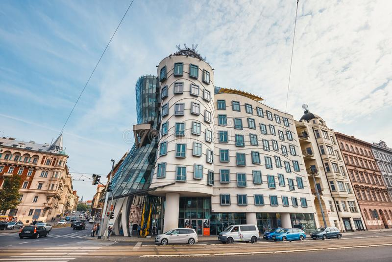 Dancing House - modern building designed by Vlado Milunic and Frank O. Gehry, Prague. Prague, Czech Republic, October 01, 2017: Dancing House - modern building stock images