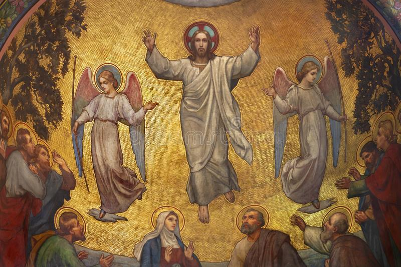 PRAGUE, CZECH REPUBLIC - OCTOBER 13, 2018: The fresco of Ascension of Jesus in side apse of church kostel Svatého Václava royalty free stock images