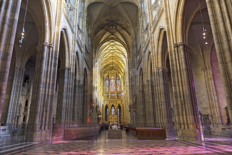 PRAGUE, CZECH REPUBLIC - OCTOBER 14, 2018: The gothic nave of St. Vitus cathedral.  stock photos