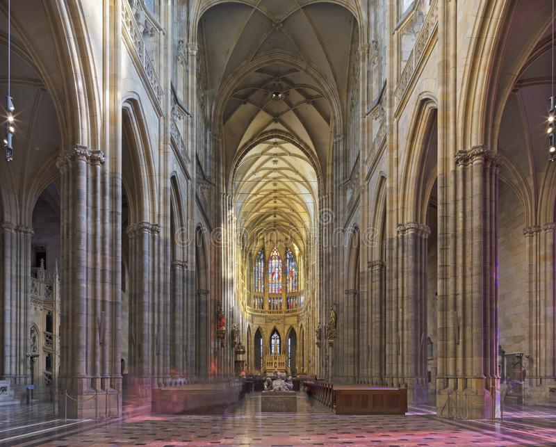PRAGUE, CZECH REPUBLIC - OCTOBER 14, 2018: The gothic nave of St. Vitus cathedral.  royalty free stock image