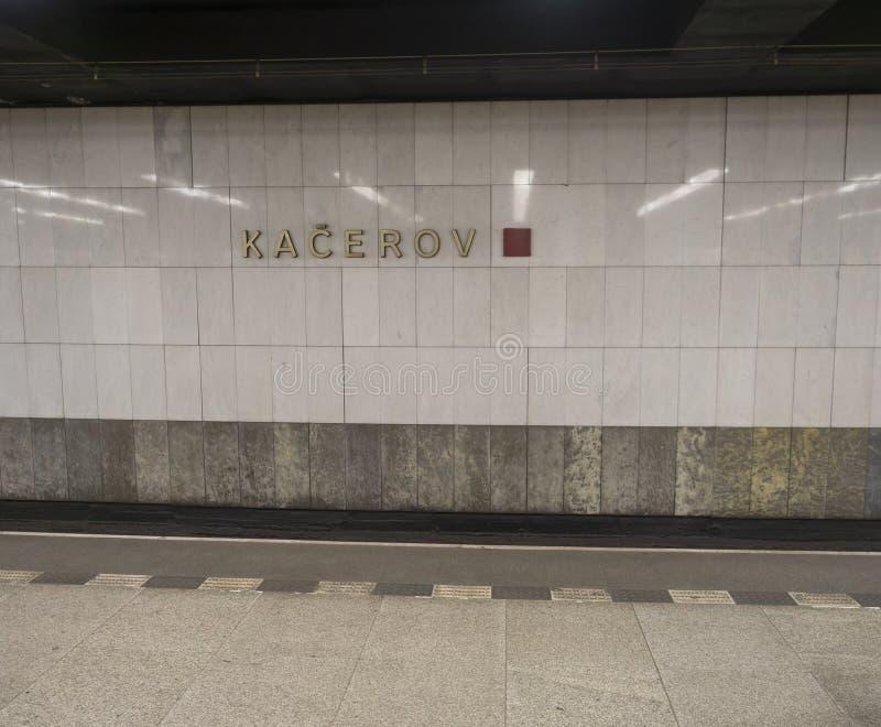 Prague, Czech Republic, October, 10: Kacerov sign at Prague undergound station platform Kacerov on red line C. stock photography