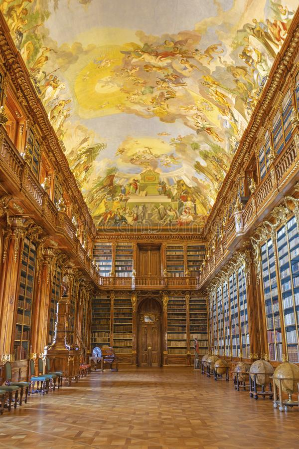 PRAGUE, CZECH REPUBLIC - OCTOBER 17, 2018: The Philosophical hall of library in Strahov monastery royalty free stock image