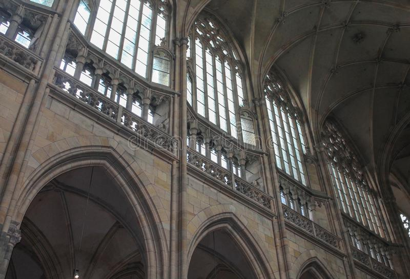 Prague; Czech Republic; October 18, 2017; St. Vitus Cathedral wall with vaults, glass and roof. royalty free stock photos