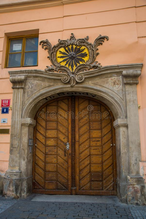 Prague, Czech Republic: Old historical door. Beautiful building in the historical center of Prague royalty free stock images