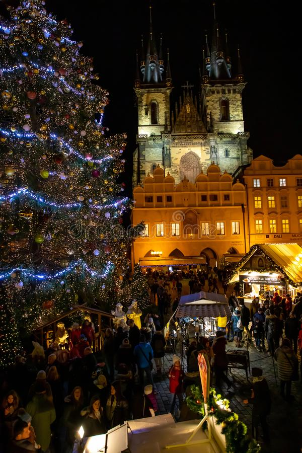 Prague, Czech Republic - 1.12.2018: Old Town Square in Prague with the Christmas tree. Czech Republic stock image