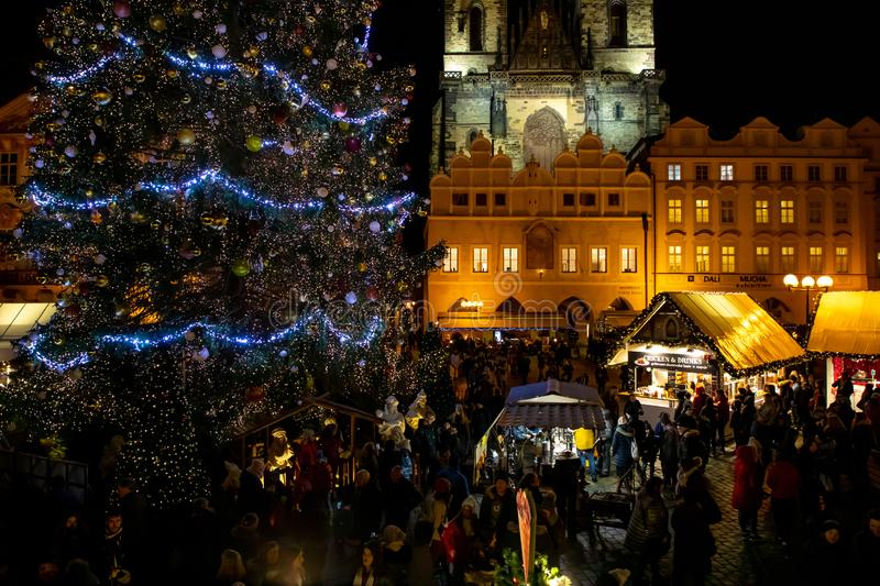 Prague, Czech Republic - 1.12.2018: Old Town Square in Prague with the Christmas tree. Czech Republic stock images