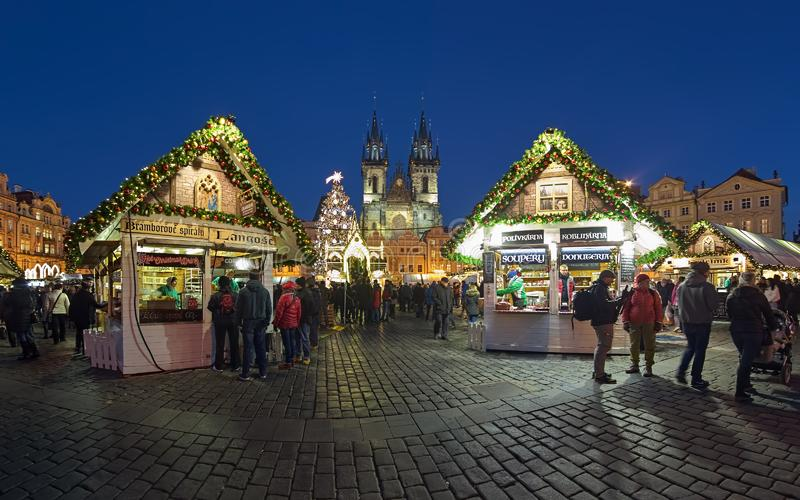 Christmas market at Old Town Square of Prague, Czech Republic royalty free stock photography